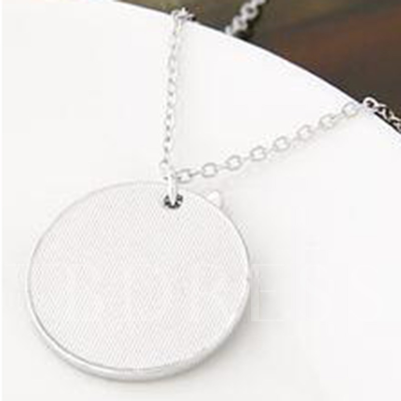 Star Round Alloy Lettering Pendant Necklace