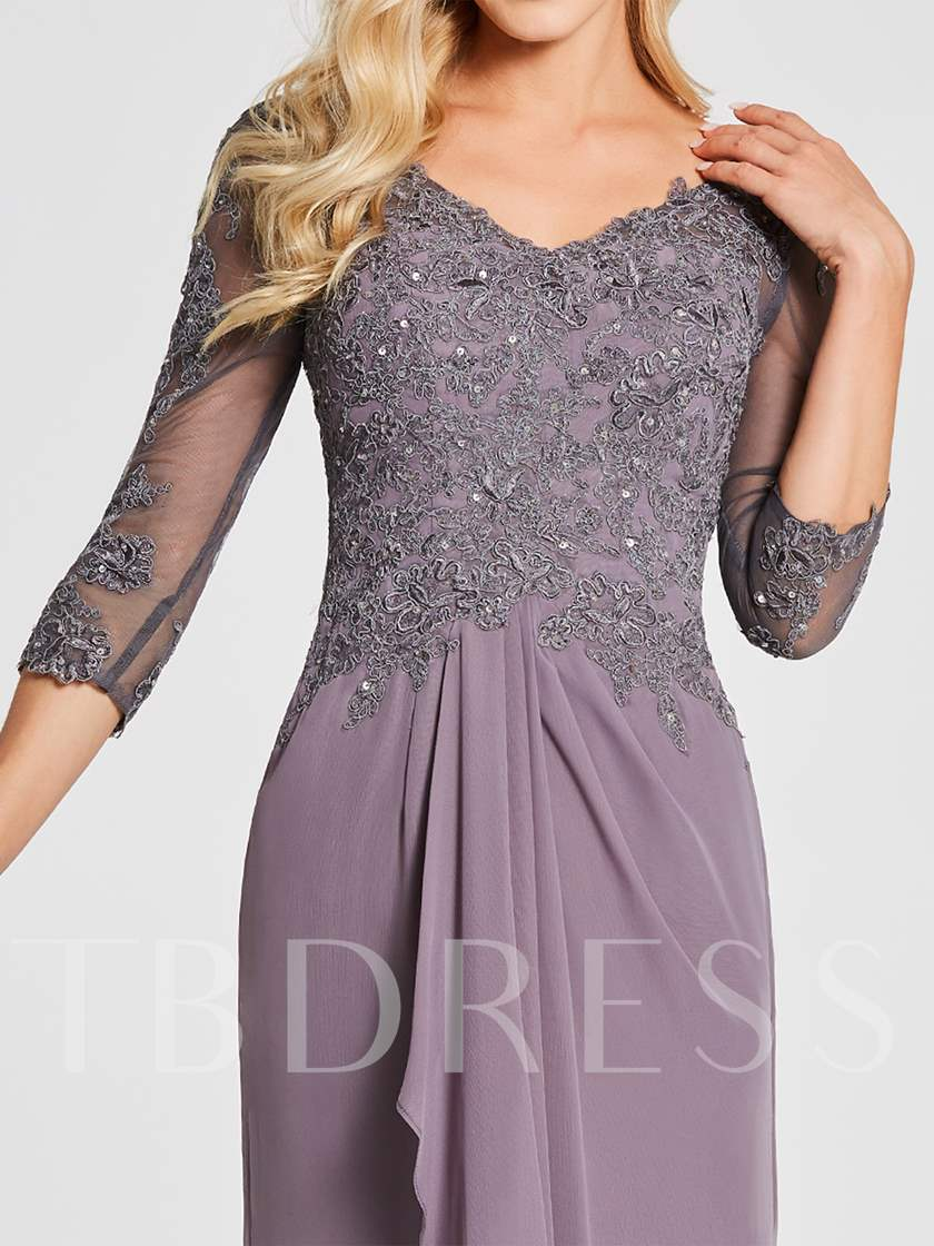3/4 Length Sleeves Appliques Mother of the Bride Dress