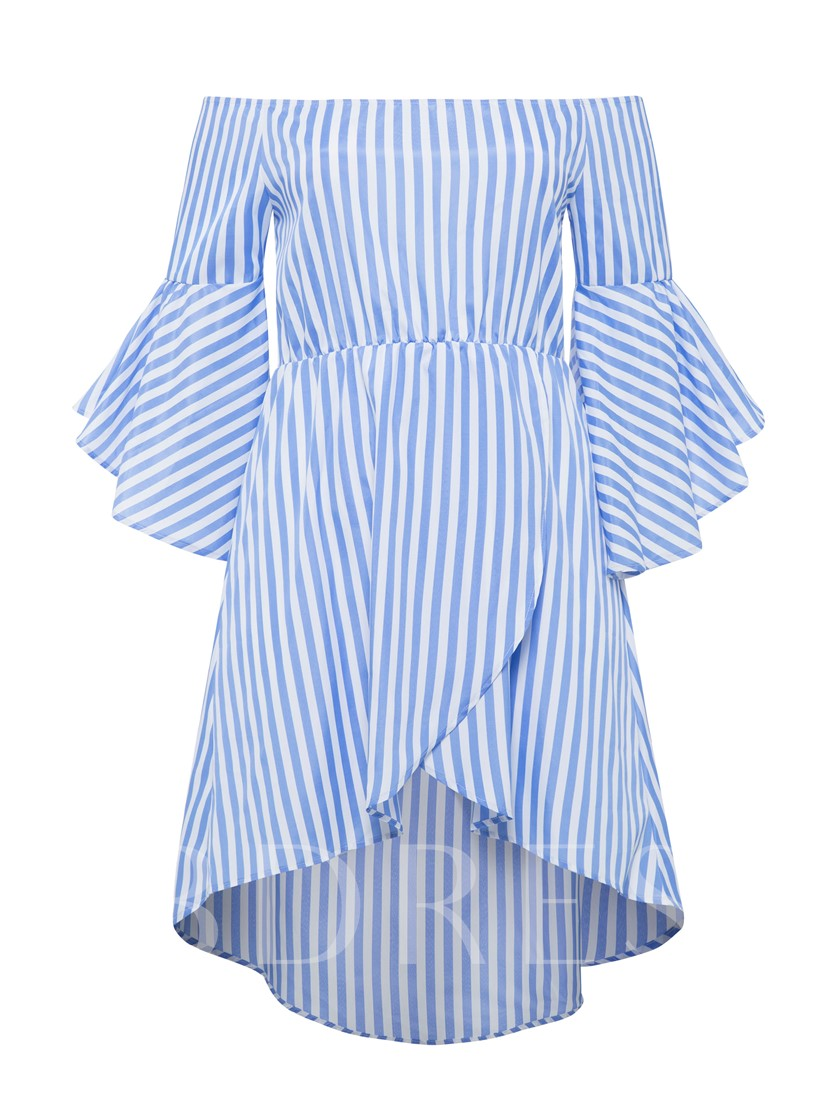 Plus Size Off Shoulder Striped Women's Day Dress