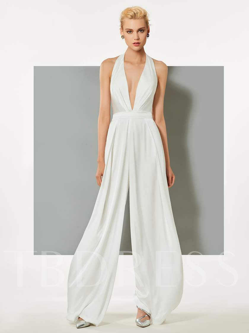 Halter Deep V-Neck Backless Evening Jumpsuits