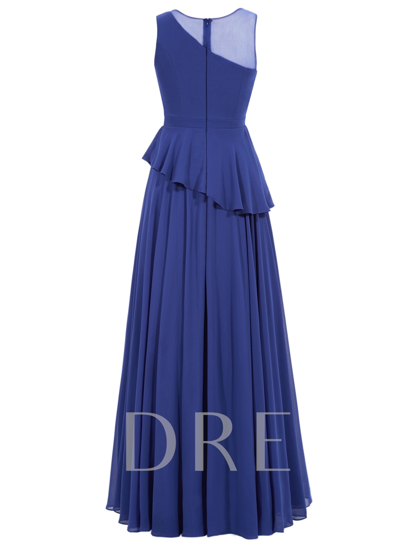 A-Line Zipper-Up Scoop Draped Floor-Length Evening Dress