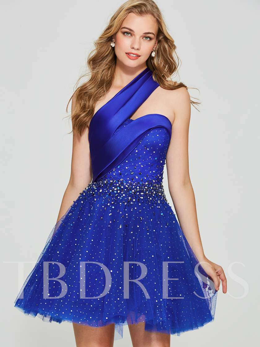 A-Line Beading One-Shoulder Short Homecoming Dress