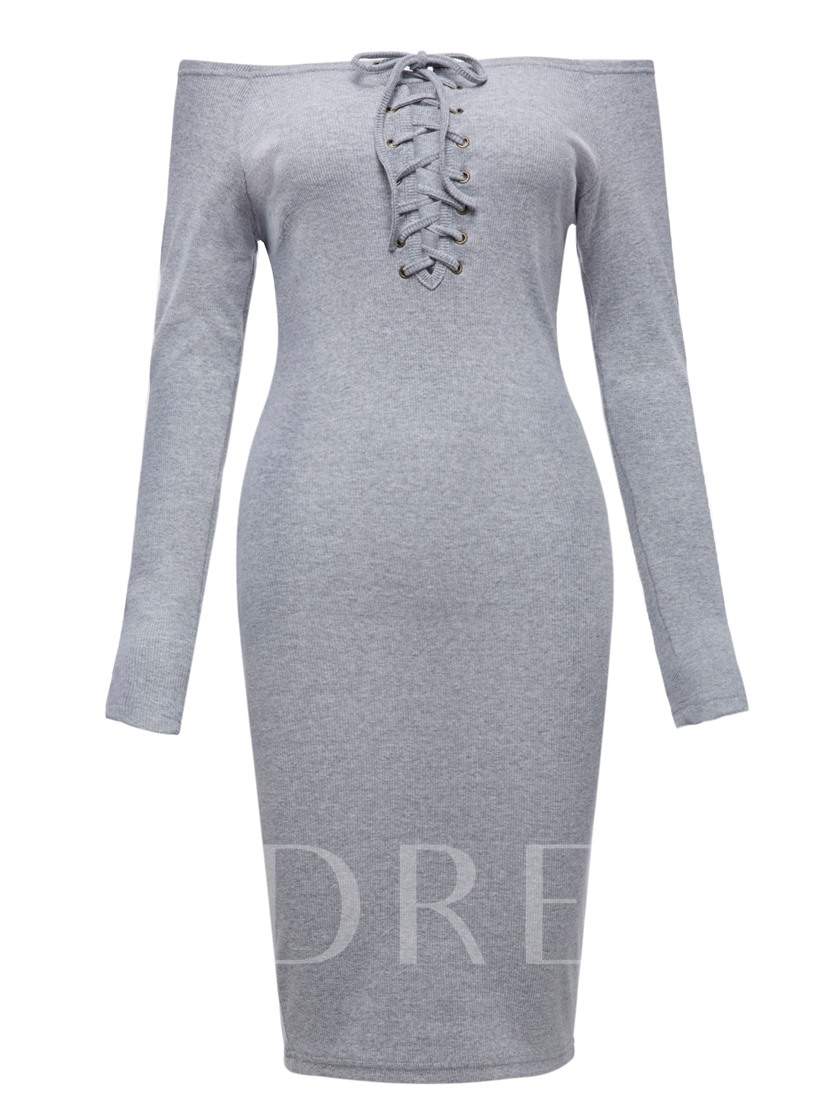 Long Sleeve Gray Lace up Women's Sheath Dress
