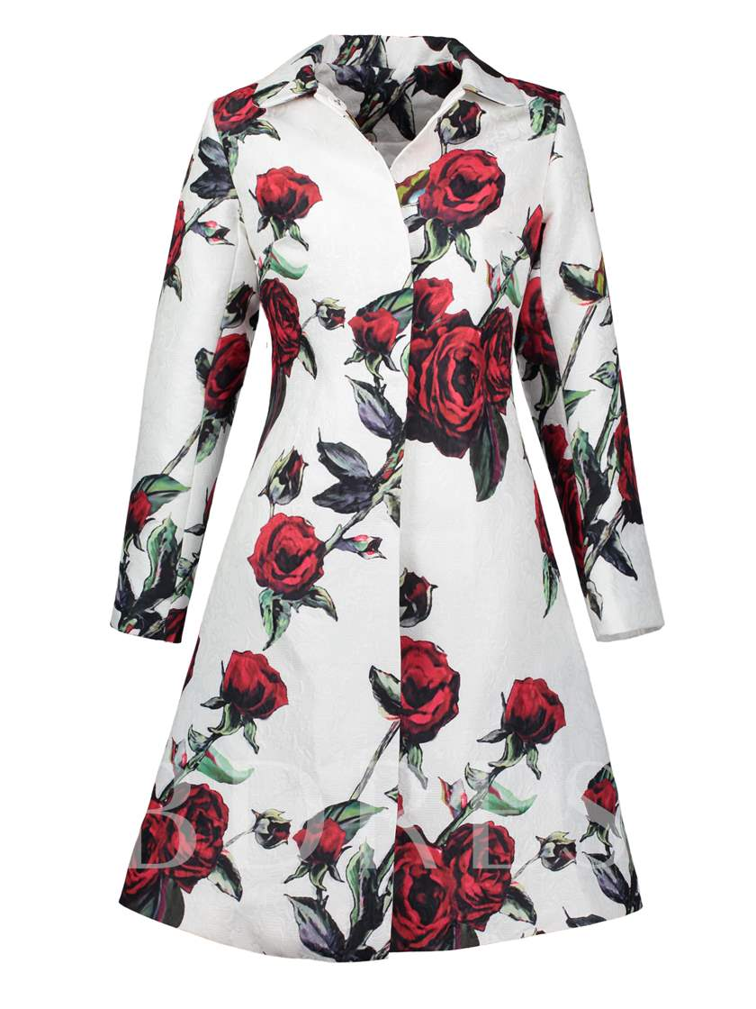 Polo Neck Flowe Vacation A-Line Women's Overcoat
