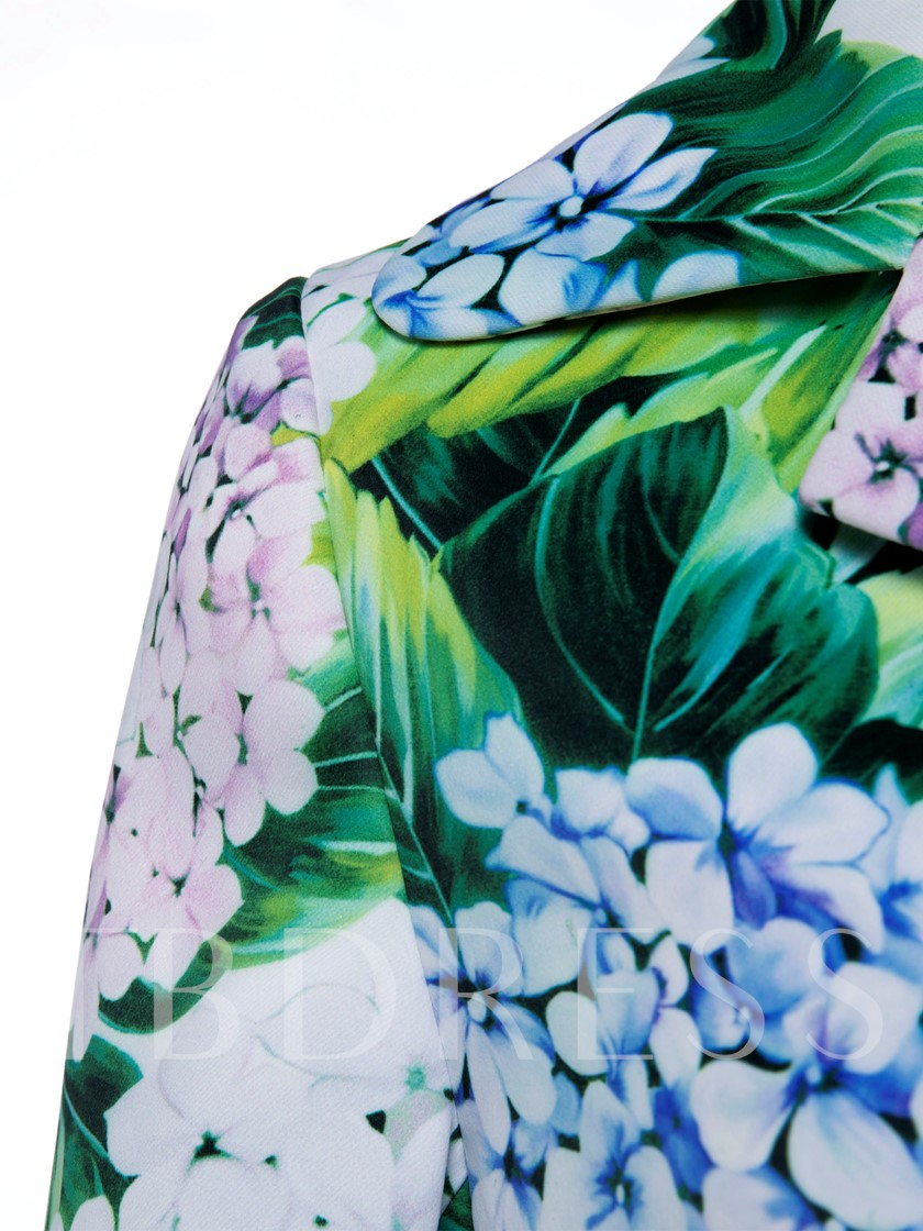 Single-Breasted Flora Print Vacation Women's Overcoat