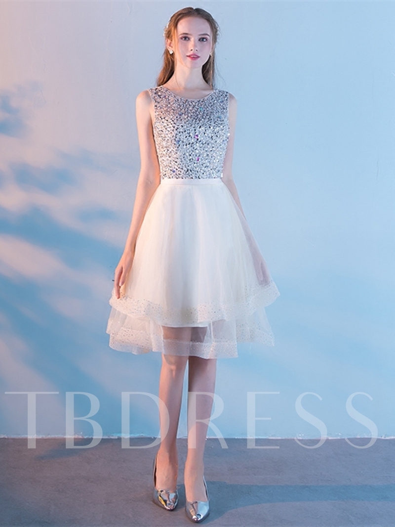 Scoop Beading Rhinestone Sashes Homecoming Dress