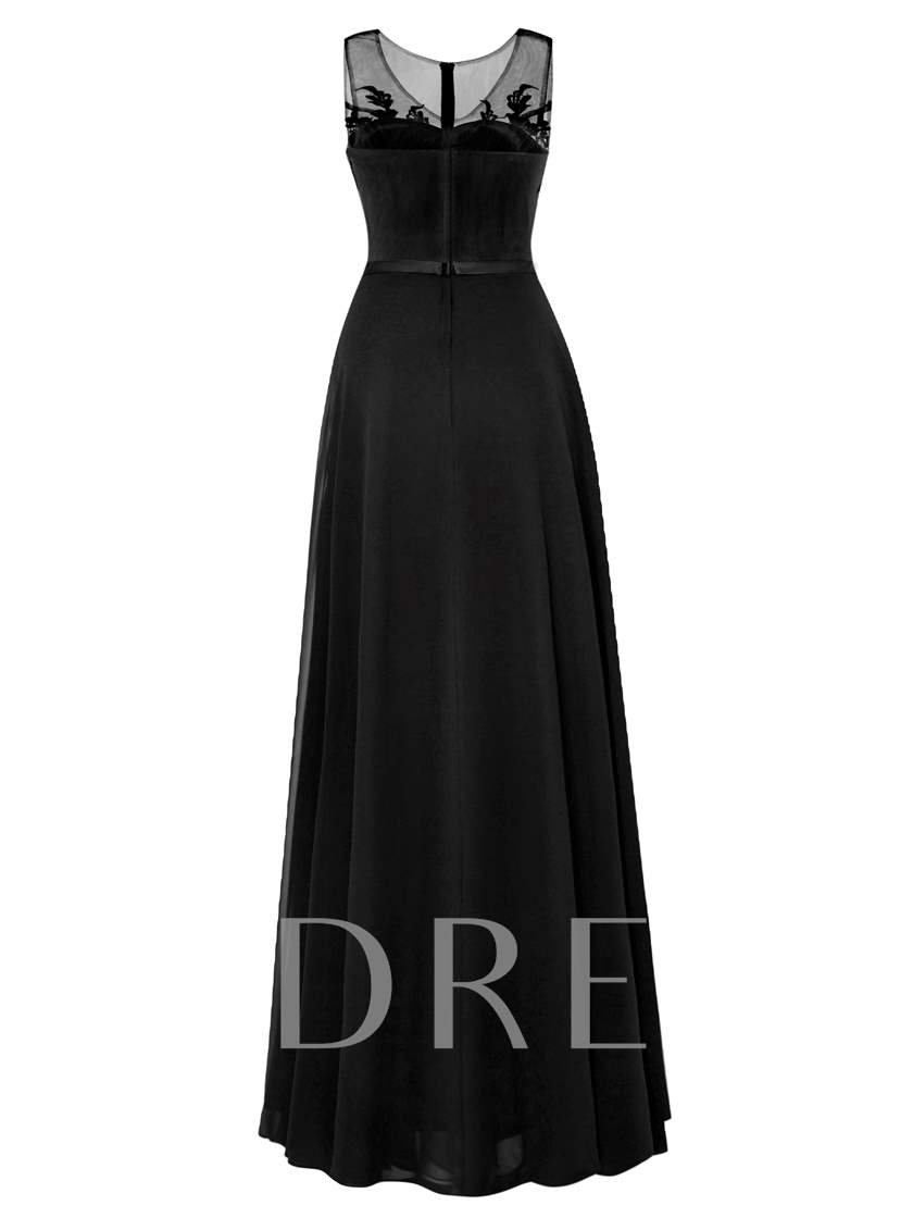 A-Line Lace Beaded Chiffon Floor-Length Long Evening Dress