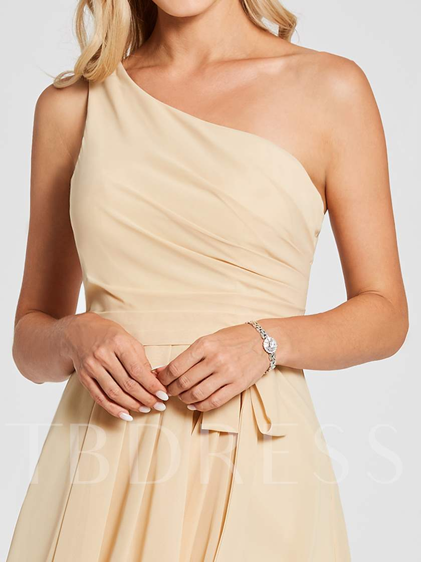 One Shoulder Bowknot High Low Bridesmaid Dress