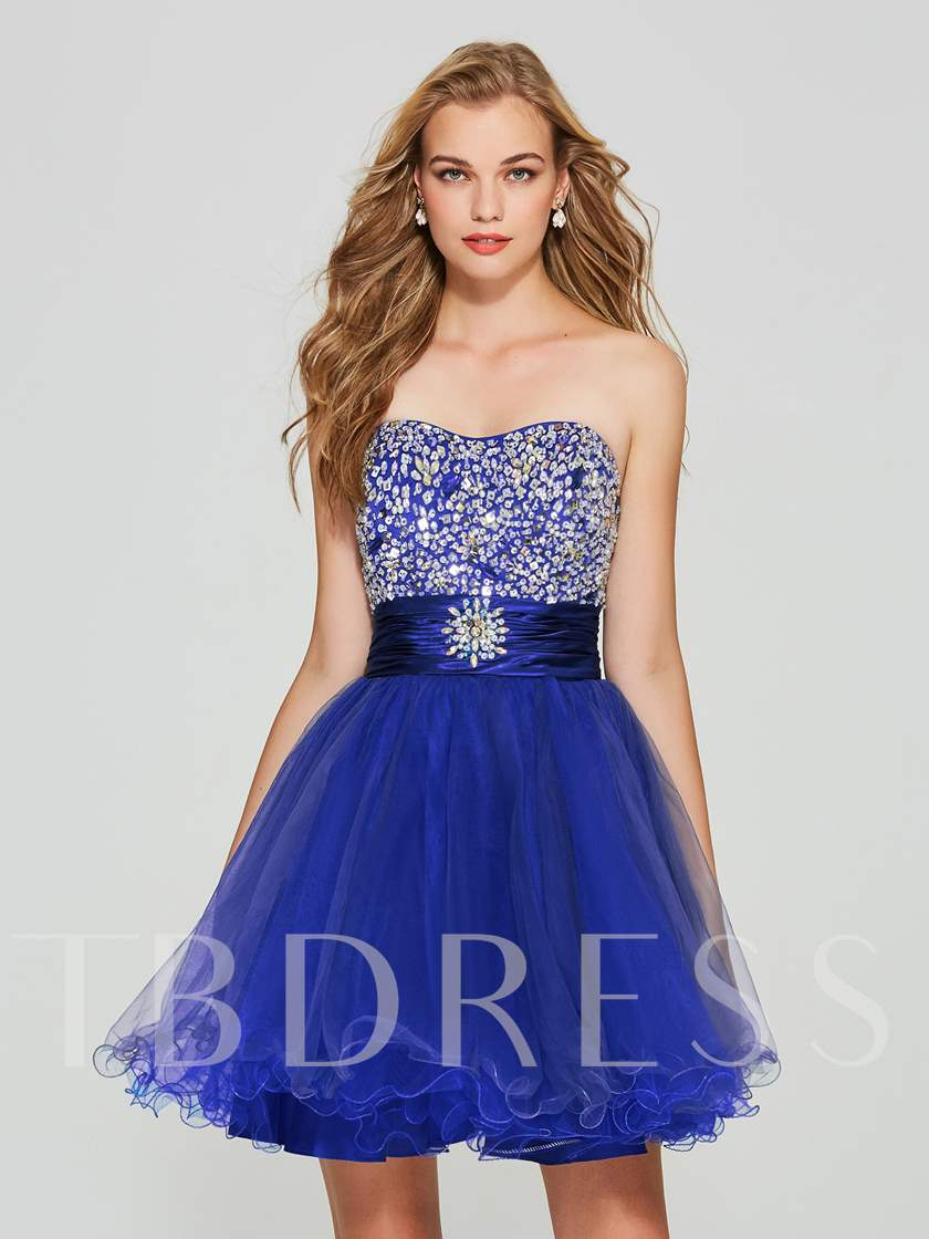 Sweetheart A-Line Beading Lace-Up Homecoming Dress