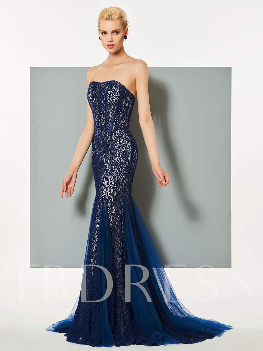 Lace Sweetheart Trumpet Court Train Evening Dress