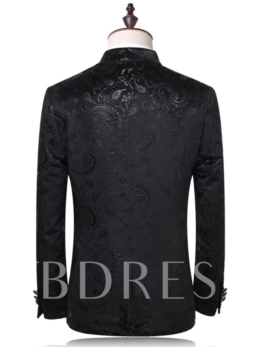 Notched Collar Floral Printed One Button Slim Men's Dress Suit