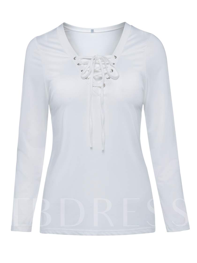 Lace-Up Half Knitted Fabric Women's T-Shirt