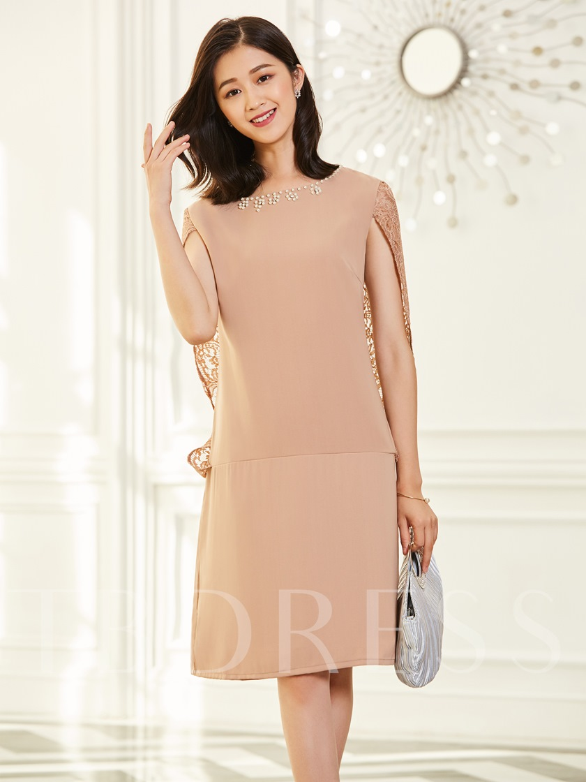 Round Neck With Diamonds Decorated Day Dress