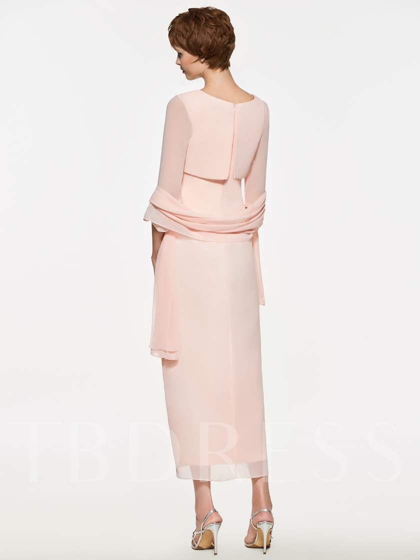 Sleeves Tea-Length Mother of the Bride Dress with Shawl