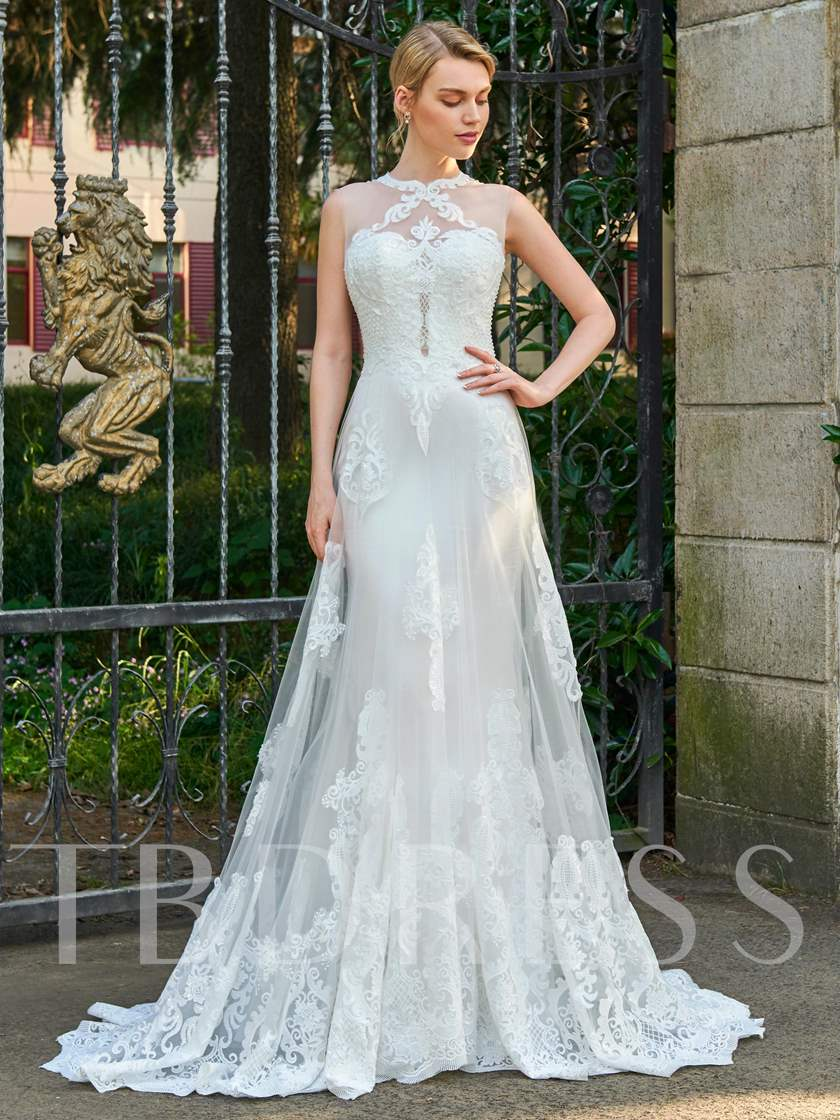 Jewel Neck Court Train Lace Appliques Wedding Dress