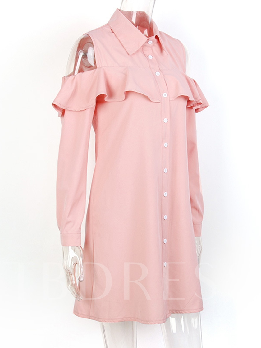 Single-Breasted Cold Shoulder Women's Day Dress