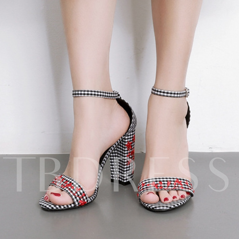 Chunky Heel Embroidery Floral Plaid Women's Sandals
