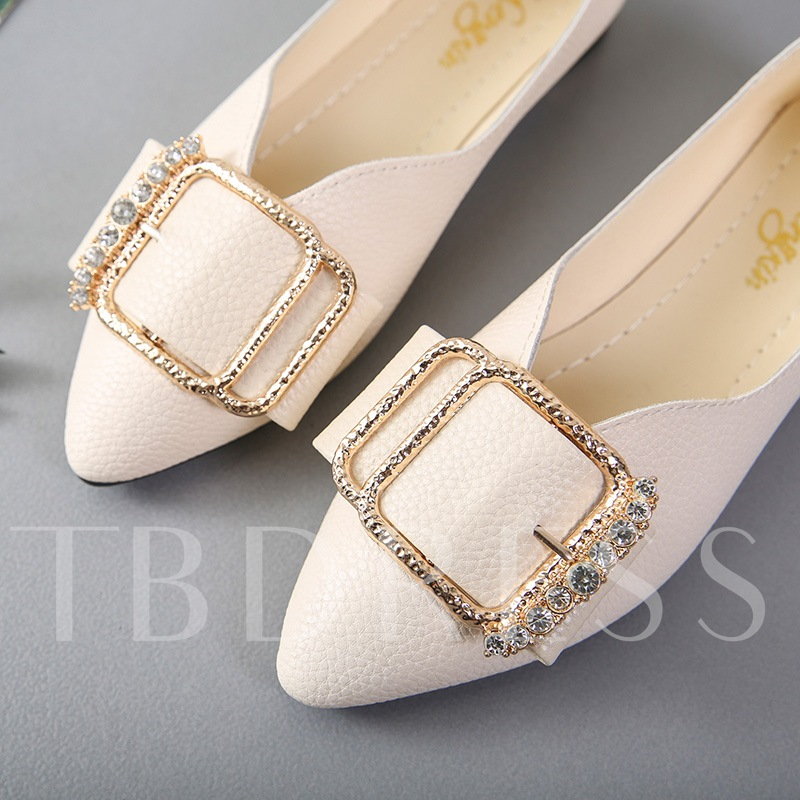 Slip-On Buckle Rhinestone Block Heel Women's Shoes