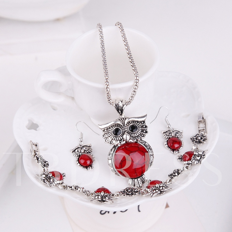 Owl Design Alloy Silver Plated Turquoise Jewelry Sets