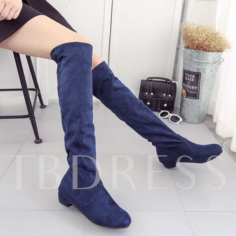 Nubuck Leather Chunky Heel Purfle Short Floss Women's Fashion Boots