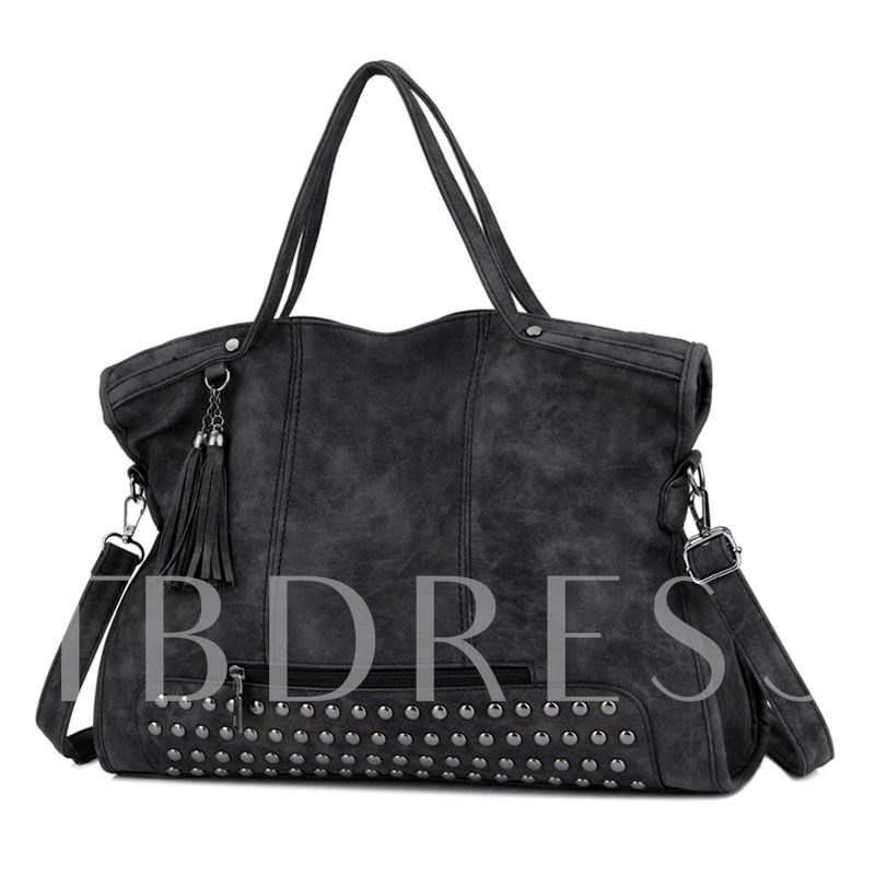 Huge Space Matting Rivet Zipper Tote