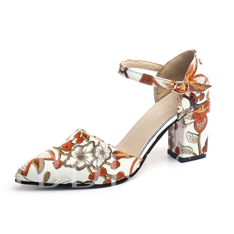 Line-Style Buckle Floral Chunky Heel Women's Pumps Shoes