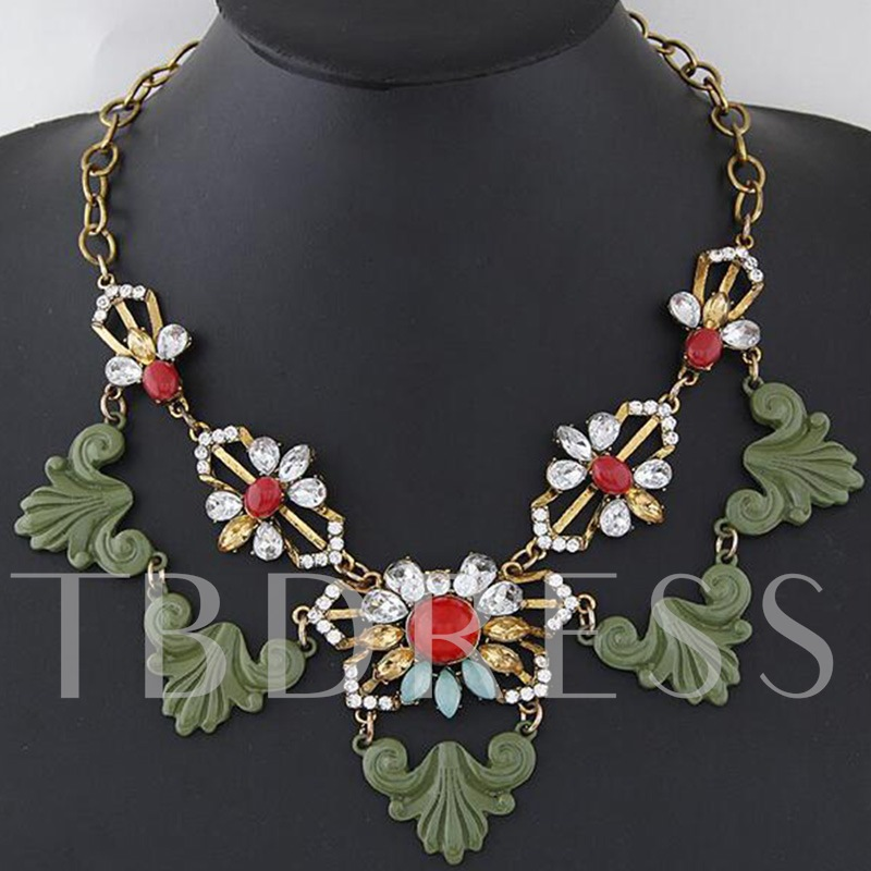 Reshin Rhinestone Alloy Palace Style Necklace