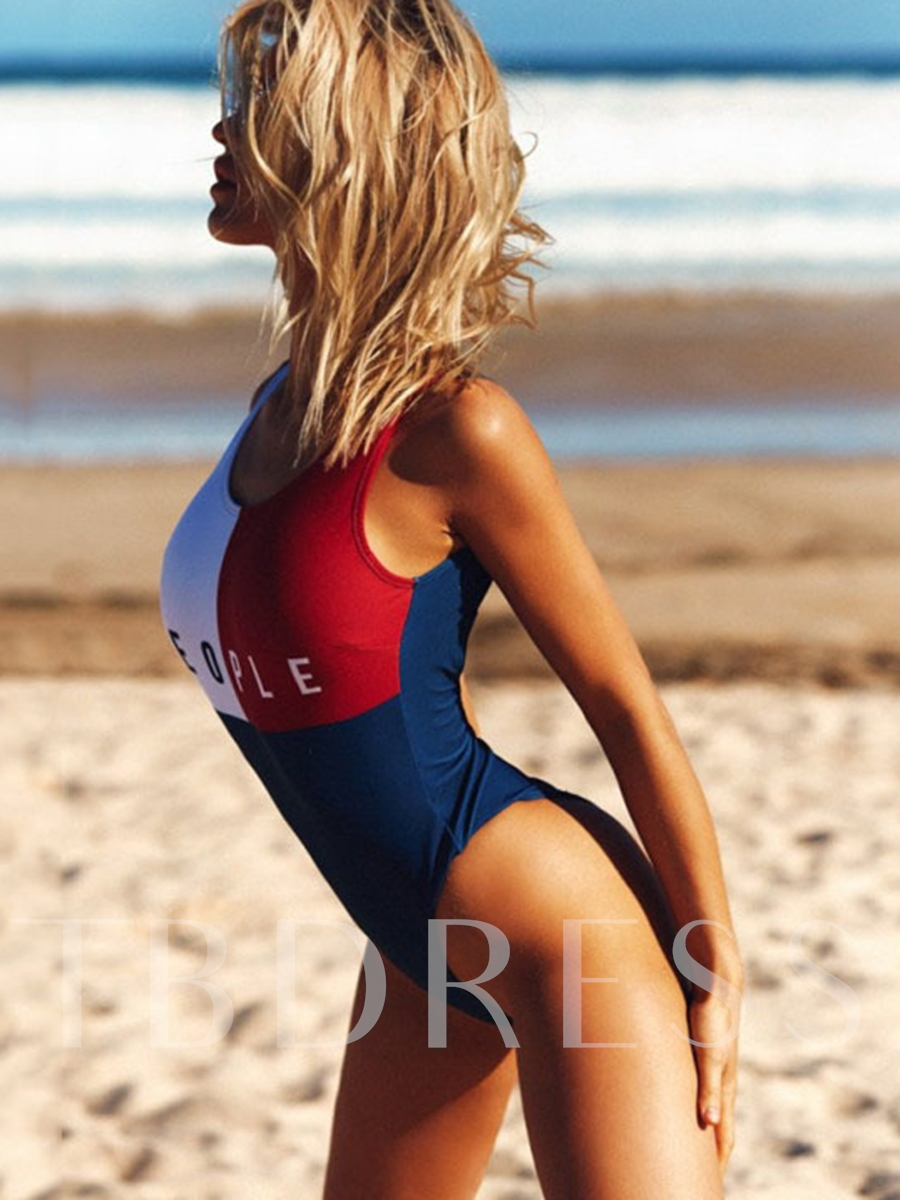 Fashion Letter Print One-Piece Swimsuit