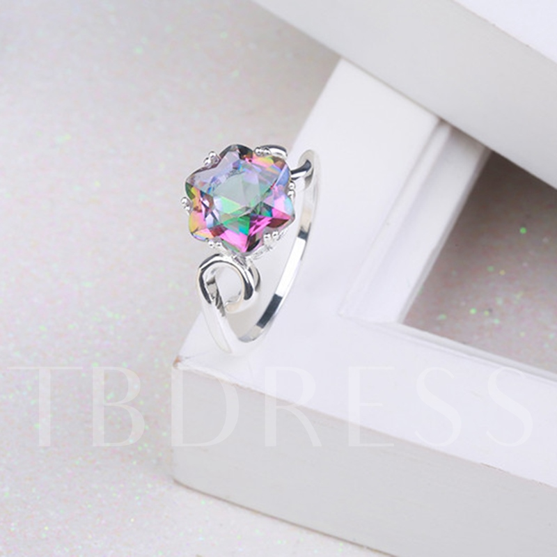 Coloured Diamond-Shaped Silver Plated Copper Ring