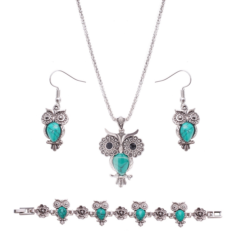 Turquoise Inlaid Alloy Silver Plated European Jewelry Sets