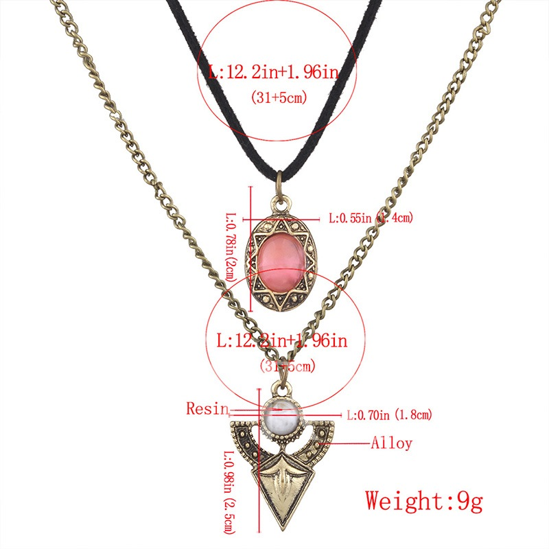 Link Chain Rhinestone Alloy Rope Vintage Necklace