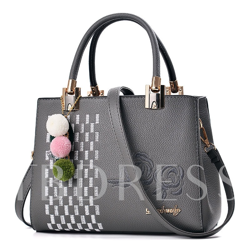 Concise Embroidery PU Women Tote Bag