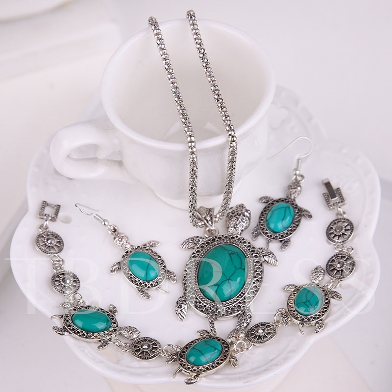Tortoise Design Turquoise Popcorn Chain Jewelry Sets