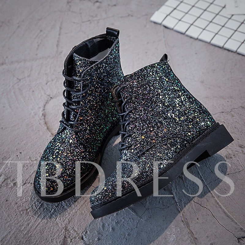 Glitter Platform Sequins Thread Lace-Up Front Women's Martin Boots Shoes