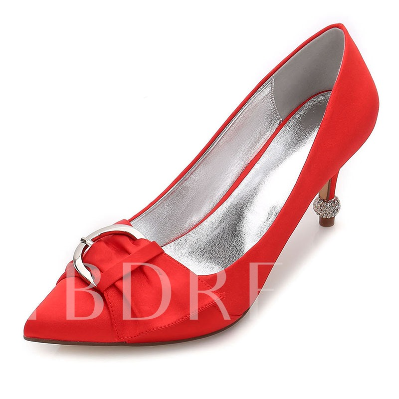 Slip-On Buckle Rhinestone Stiletto Heel Bridal Shoes For Wedding