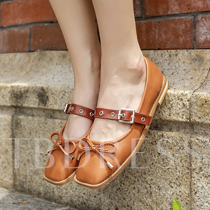 Square Toe Block Heel Color Block Bow Women's Flats Shoes