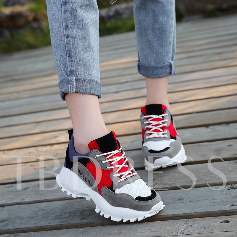 Rubber Outsold Mesh Lace-Up Women's Platform Sneakers