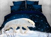 3D White Wolf Walking in Snow Printed 4-Piece Bedding Sets/Duvet Covers