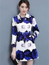 Long Floral Print Double-Breasted Women's Trench Coat
