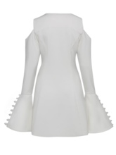 White Cold Shoulder Women's Bell Sleeve Dress