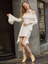 White Off Shoulder Bell Sleeve Women's Day Dress