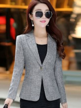 Notched Collar One Button Women's Blazer