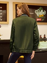 Stand Collor Zipper Pleated Patchwork Women's Jacket