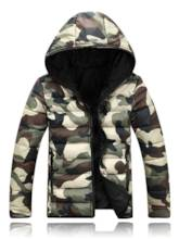 Hooded Camouflage Zipper Men's Down Jacket
