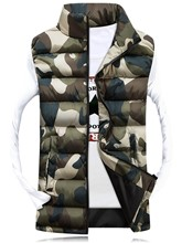Stand Collar Camouflage Zipper Plain Men's Winter Vest