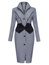 Patchwork Gingham Lapel Single-Breasted Women's Overcoat