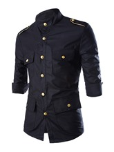 Lapel Metal Single-Breasted Slim Three Quarter Sleeve Men's Shirt