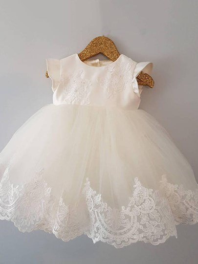 Jewel Neck Cap Sleeves Appliques Christening Gown