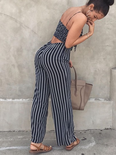 Striped Printing Bowknot Straps Women's Jumpsuit
