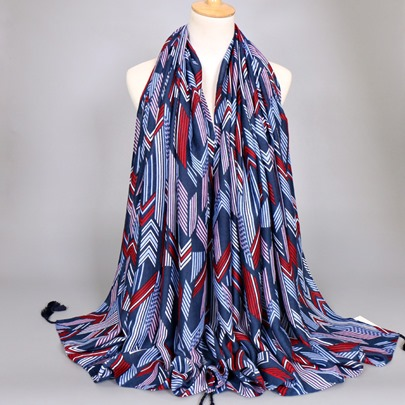 Thick Cotton Linen Fall Tassel Printing Scarfs